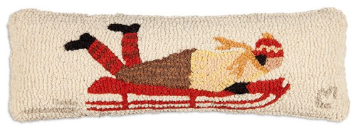 "Sled 8""x24"" Hooked Wool Pillow"