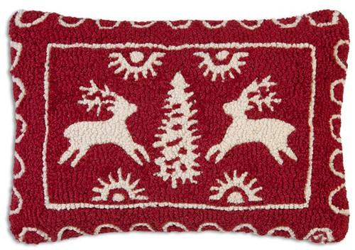 "Alpine Snow 14""x20"" Hooked Wool Pillow"