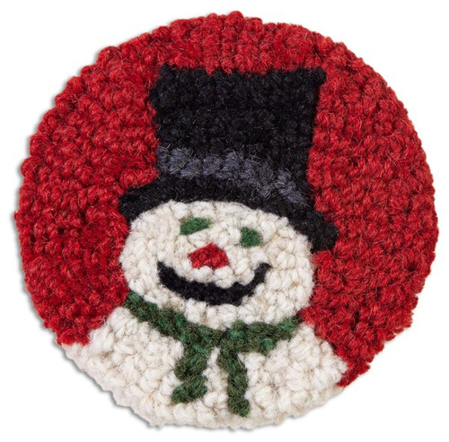 Tophat Snowman Hooked Wool Coaster Set of 4