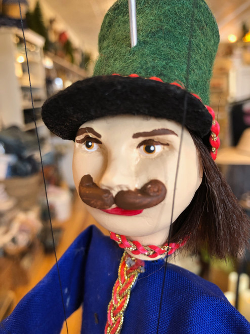 Marionette Puppet Hussar Soldier in Blue Coat with Green Hat