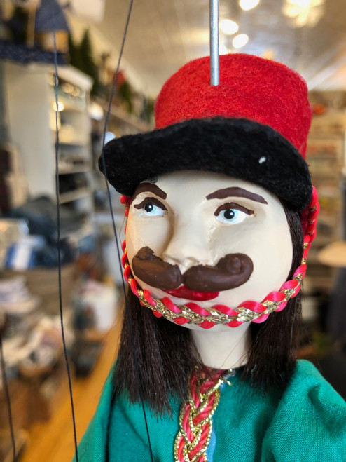 Marionette Puppet Hussar Soldier in Green Coat with Red Hat