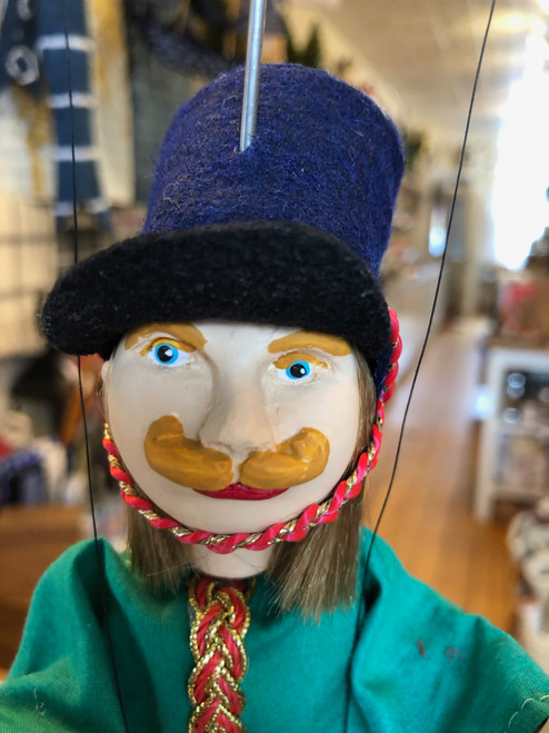 Marionette Puppet Hussar Soldier in Green Coat with Blue Hat