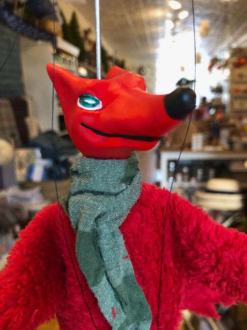 Marionette Puppet Red Devil in Green Scarf
