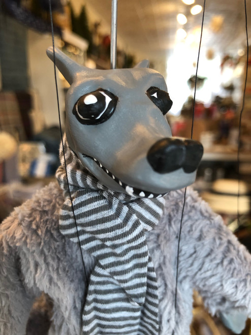 Marionette Puppet Grey Fox With Striped Scarf No 1