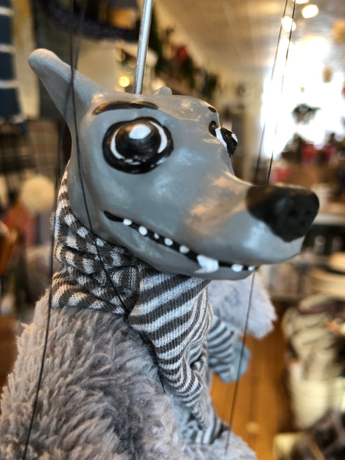 Marionette Puppet Grey Fox With Striped Scarf No 2 Bulging Eye