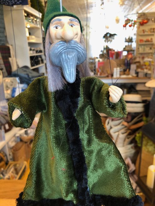 Marionette Puppet Green Wizard No 2 in Velveteen