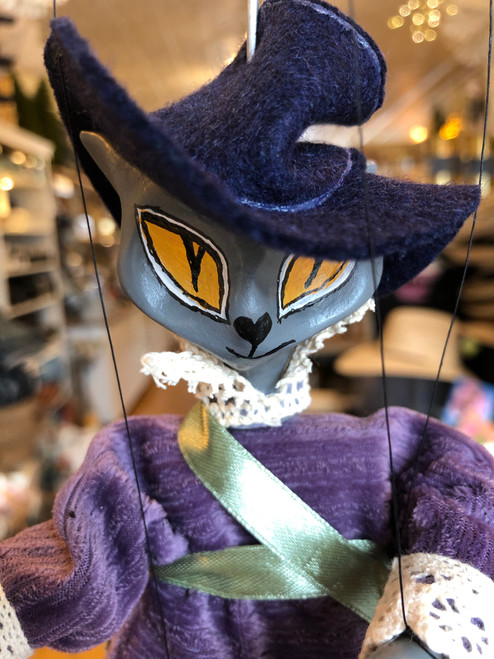 Marionette Puppet Puss in Boots Purple Hat and Coat