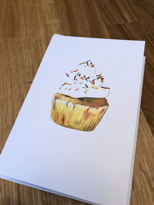 Birthday Cupcake Greeting Card (with Detachable Recipe Card) by Evan Stevens Boothbay, Maine Artist