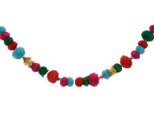 Colorful Pom Pom Garland with Beds Garland 51""
