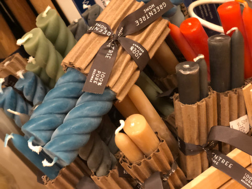 Rope Taper Beeswax Candles in Antique