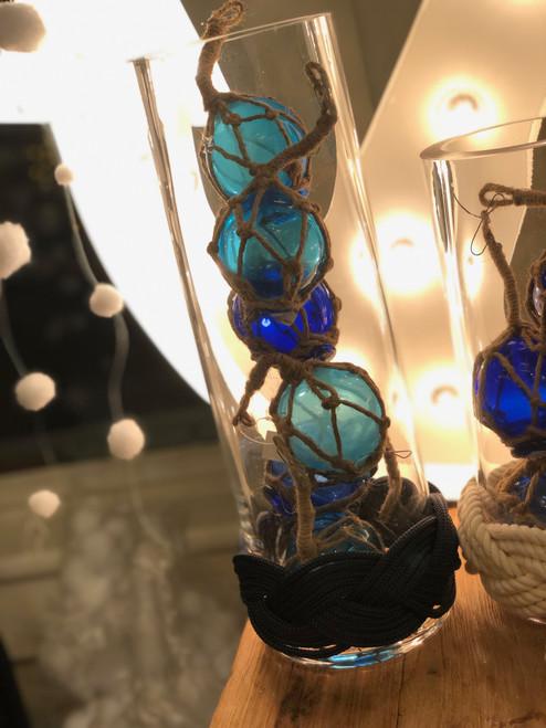 Large Hurricane Candle Holder or Vase With Blue Knotwork