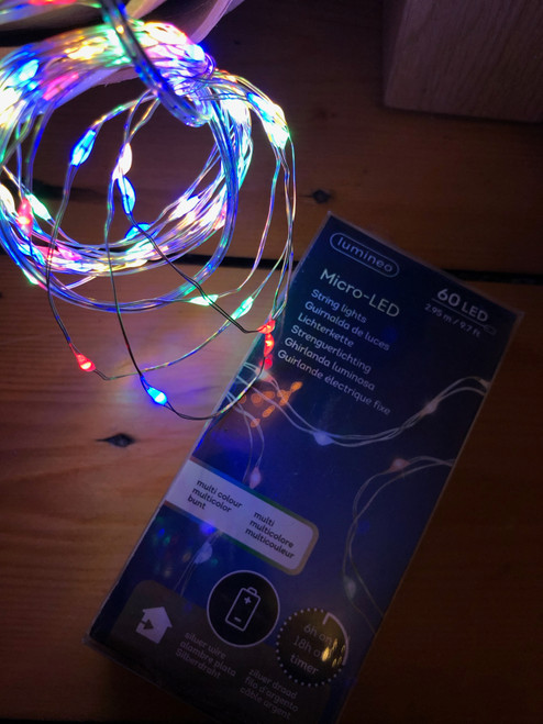 Lumineo Micro LED 60 LED 9.7 Ft. SILVER Wire Battery MULTI COLOR INDOOR ONLY