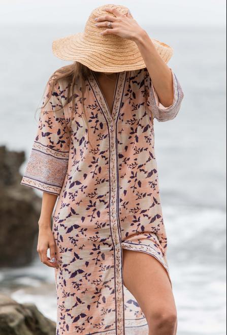 Kimono Dress in Garden Print in P/S