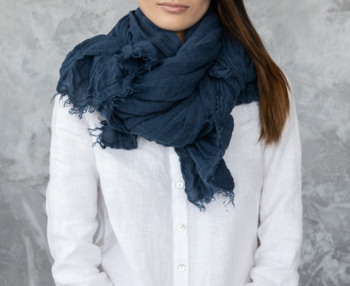 Linen Shawl Scarf in Night Blue Navy