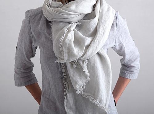 Linen Shawl Scarf in Silver Grey
