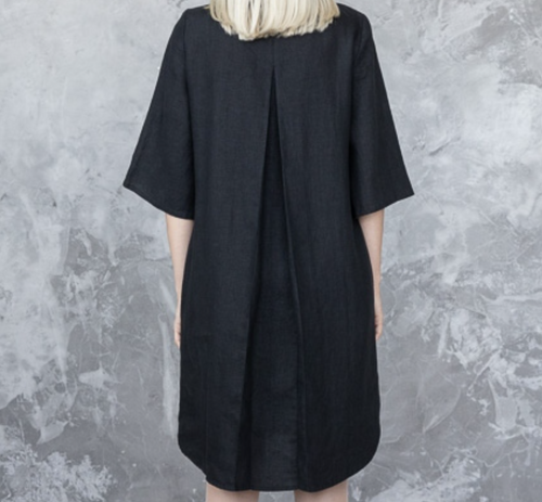 Linen Dress in Black Size Medium