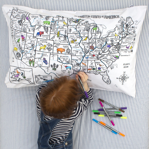 United States Map Pillowcase (includes markers)