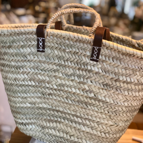 8 French Market Tote Basket with Leather Tote Strap and Basket Handle