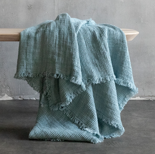 """100% Linen Waffle Throw Blanket 61"""" x 79"""" (available in multiple colors)"""