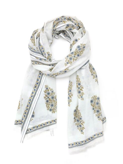 Dutch Blue Floral Cotton 416 Scarf