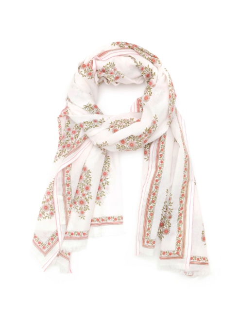 Indian Pink Floral Cotton 416 Scarf