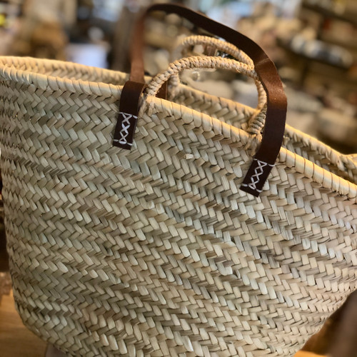 10 French Market Tote Basket with Leather Tote Strap and Basket Handle
