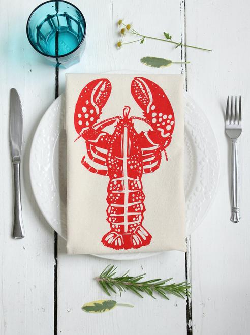 Lobster Tea Towel RED