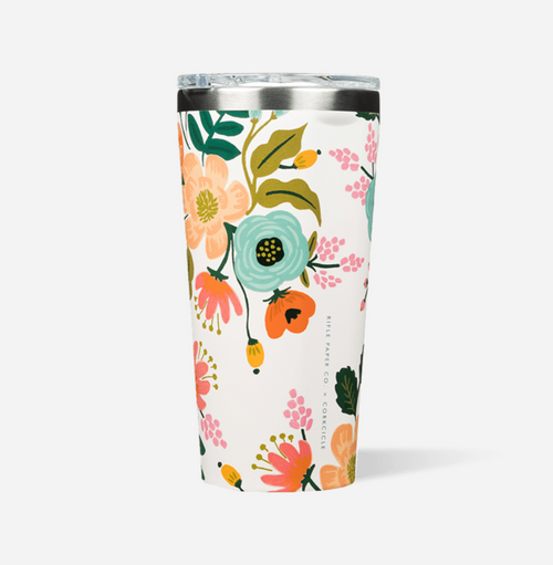 Corkcicle Rifle Paper Hot Cold Tumbler in Gloss Cream Lively Floral