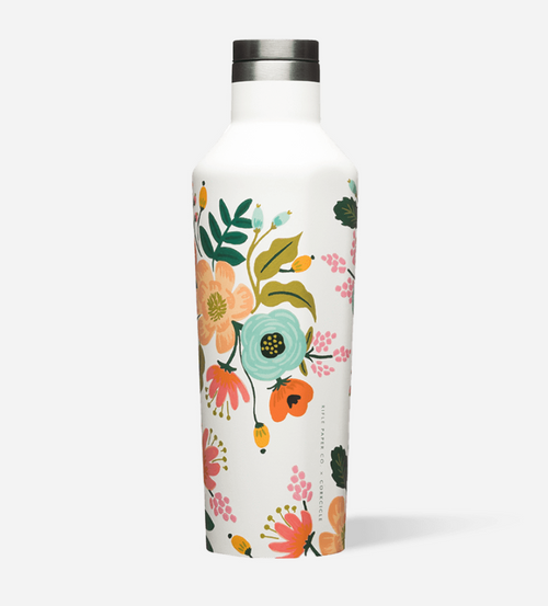 Corkcicle Rifle Paper Hot Cold Canteen in Gloss Cream Lively Floral
