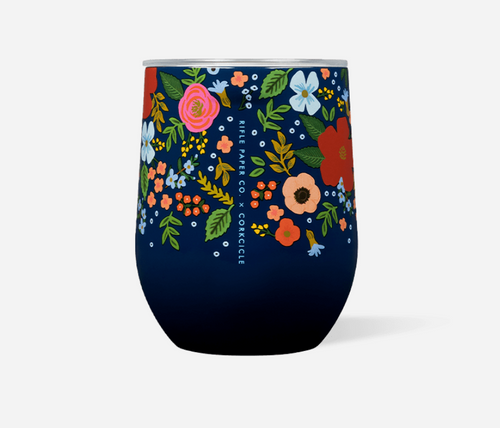 Corkcicle Rifle Paper Hot Cold Stemless in Navy Wild Rose