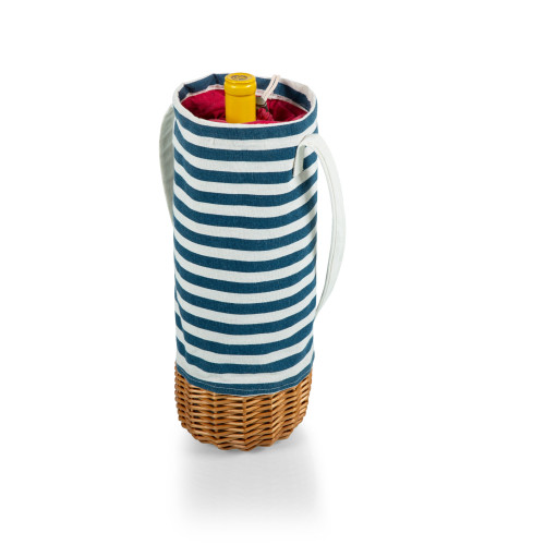 Wine Picnic Basket in Navy Blue and White Stripe
