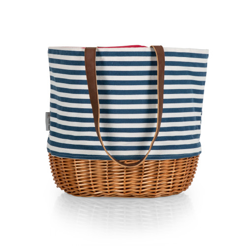 Picnic Basket or Beach Tote Bag in Navy Blue and White Stripe