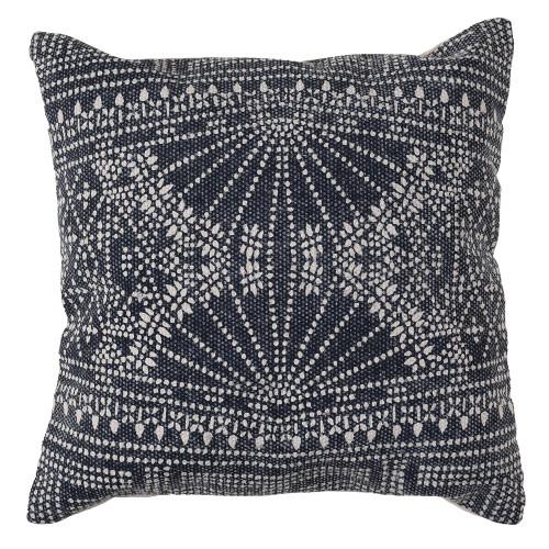 Jute and Cotton Blue Indigo Batik Throw Pillow 16 x 16