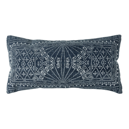 Jute and Cotton Blue Indigo Batik Throw Pillow 12x24