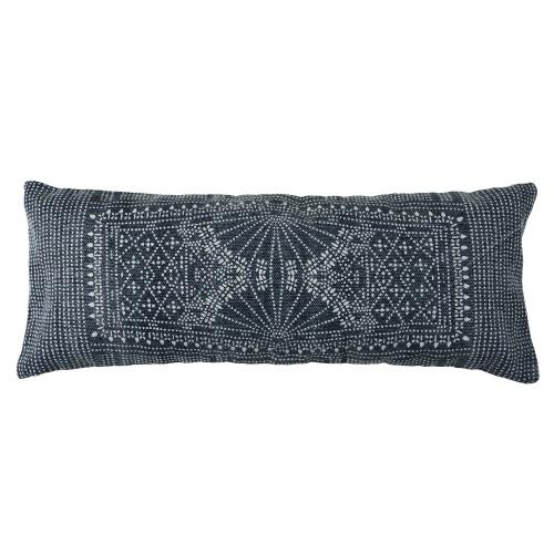 Jute and Cotton Blue Indigo Batik Throw Pillow 14x36
