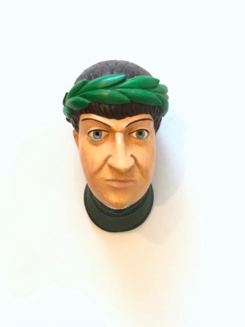 Ceramic Head Handmade #1 Green Wreath Brown Hair