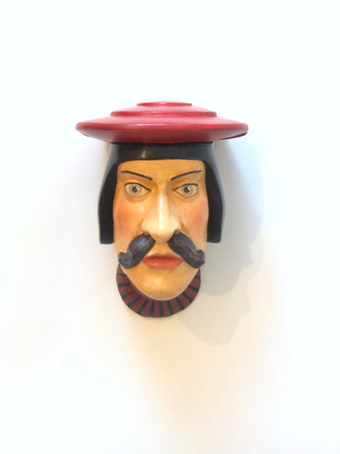 Ceramic Head Handmade #3 Red Hat Brown Mustache and Striped Collar