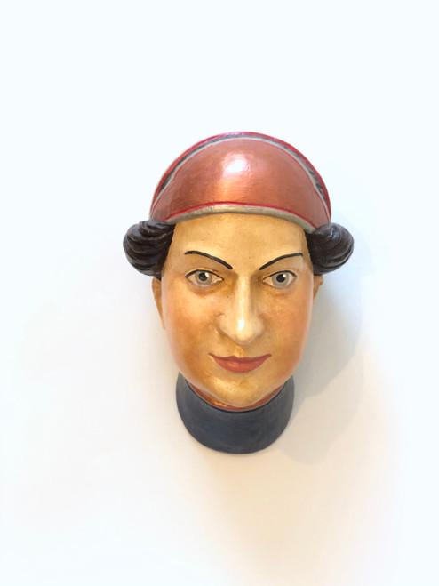Ceramic Head Handmade #5 Round Red Headwear Brown Hair Blue Neck