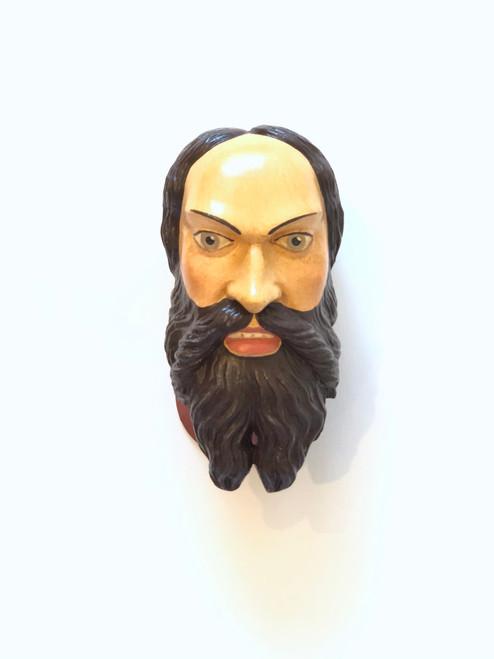 Ceramic Head Handmade #7 Bearded Man Center Part Brown Collar
