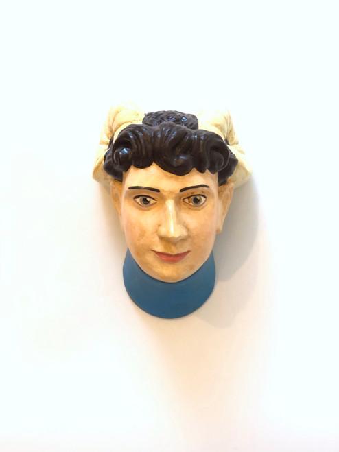 Ceramic Head Handmade #9 Woman in White Headwear and Blue Collar