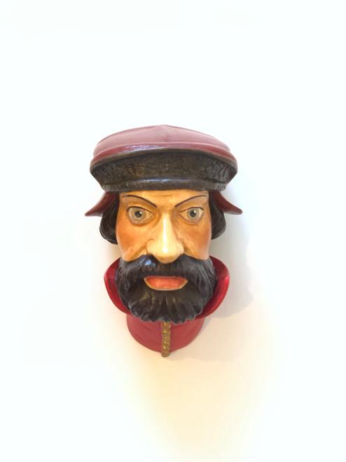 Ceramic Head Handmade #10 Man Red Headwear Red Collar Brown Beard