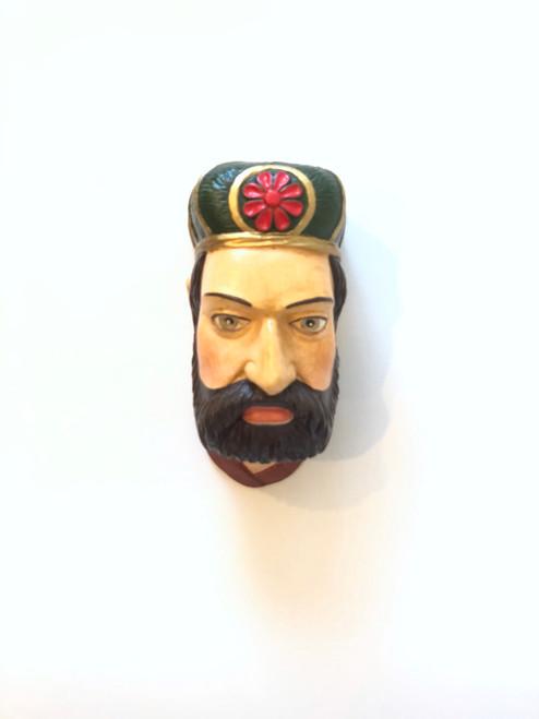 Ceramic Head Handmade #11 Man Green Headwear  with Red Flower Brown Beard