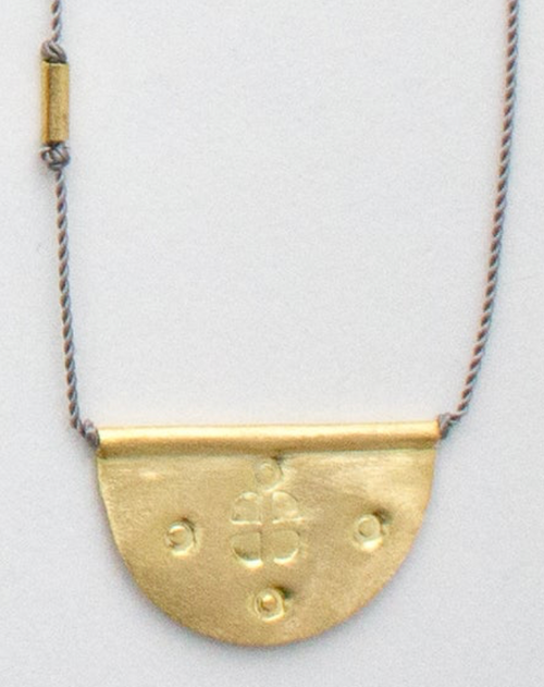 "14K Gold Half Moon Talisman on Grey Nylon Necklace 16"" LARGE"