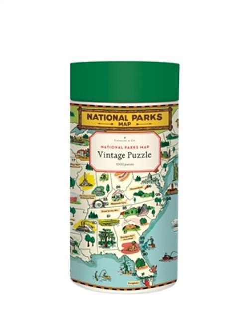 Vintage Puzzle National Parks Map 1000 Piece Puzzle