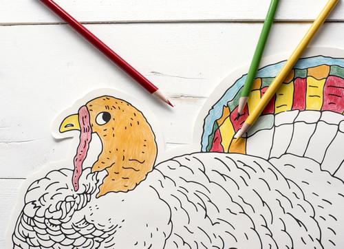 Die Cut Paper Turkey Coloring Placemats (Set of 12)