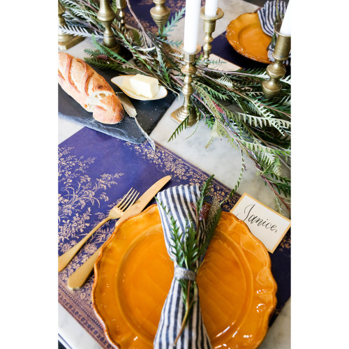Navy Woven Floral Paper Placemat Sheets Anniversary Collection (Set of 24)