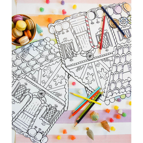 Die Cut Paper Gingerbread House Coloring Paper Placemat Sheets (Set of 12)