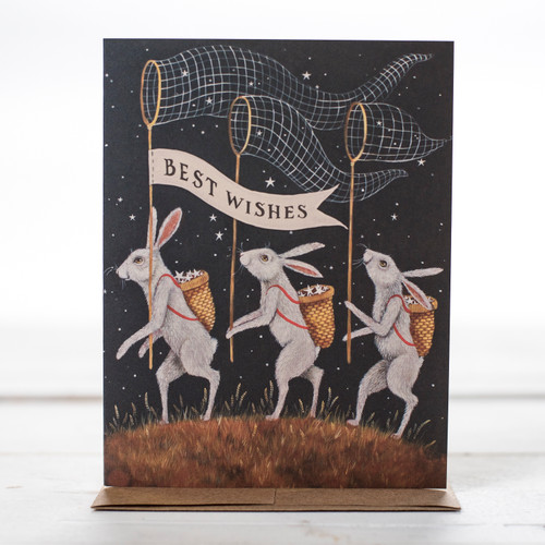 Best Wishes Rabbits with Nets Greeting Card