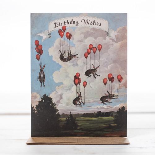 Happy Birthday  Rabbits with Balloons Greeting Card