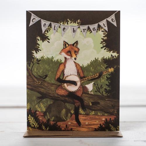 Celebrate Fox Greeting Card